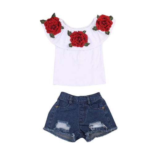 Denim Floral Set