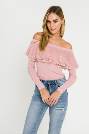 Pink Love Lace Ruffle Off the Shoulder