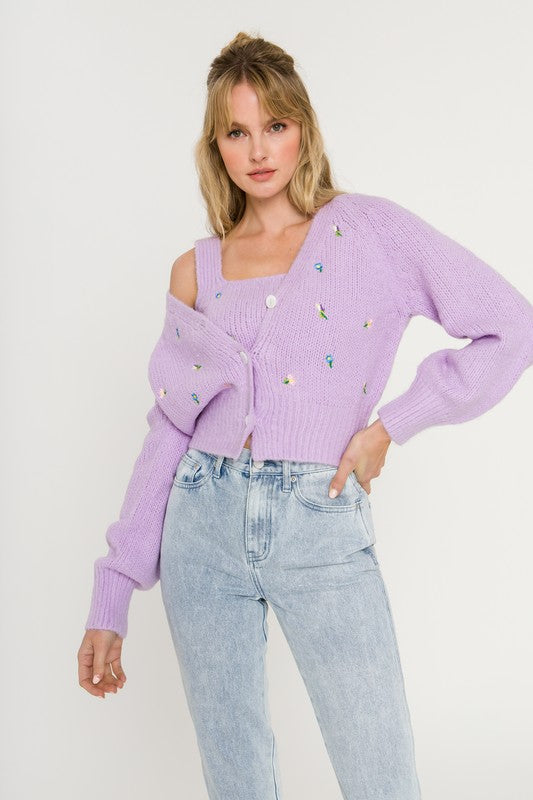 Purple Fuzzy Flower Cardigan