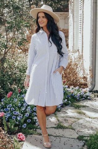 Spring Pin Stripe Boyfriend Dress