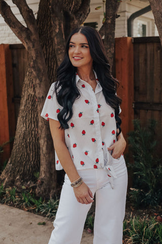 Strawberry Tie Top