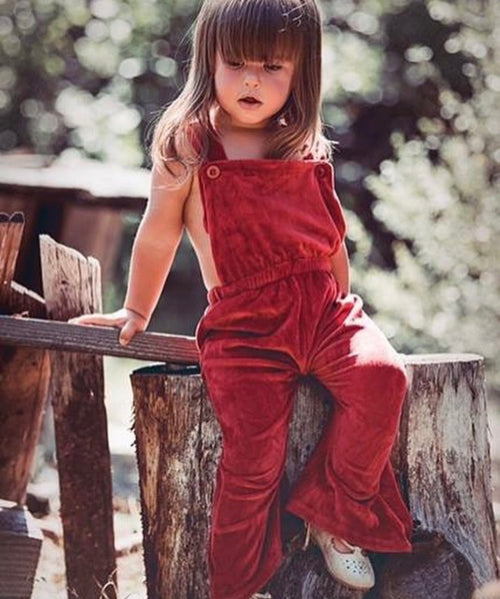 Velour Suspenders Jumpsuit - Wine