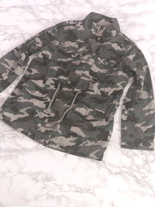 Long Army Print Lip Patch Jacket - Grey Suede
