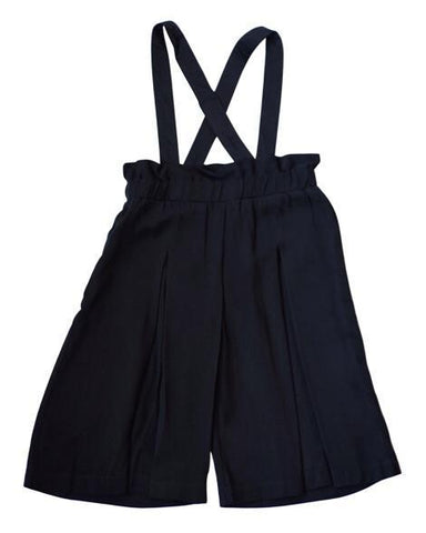 Wide Leg Pleated Suspender Palazzo Pant - Black