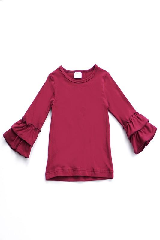 Regan Ruffle Sleeve - BURGUNDY
