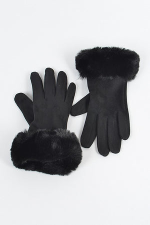 Faux Suede Gloves with Fur (BLACK)