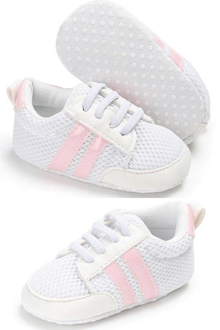 Kickin' It Sneakers- PINK - Grey Suede