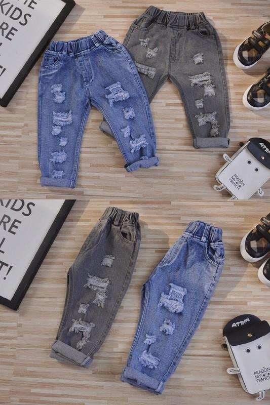 Distressed Maddox Jeans - Grey Suede