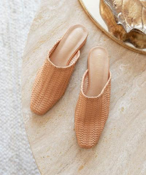 The Valen - Faux Leather Woven Mule (Coral)