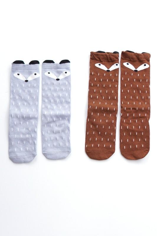 Fox Socks ( Gray & Brown) - Grey Suede