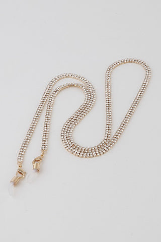 Gold Rhinestone Mask Chain