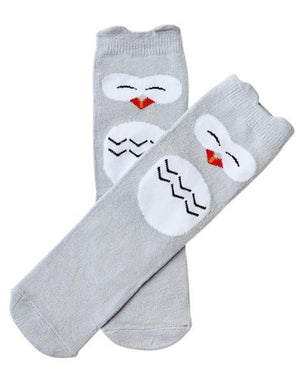 Gray Owl Socks - Grey Suede