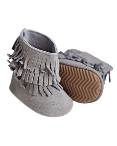 Genuine Suede Fringe Boots - Gray - Grey Suede