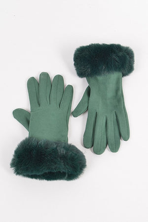 Faux Suede Gloves with Fur (Green)