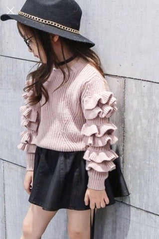 Ruffle Sleeve Sweater (GRAY)