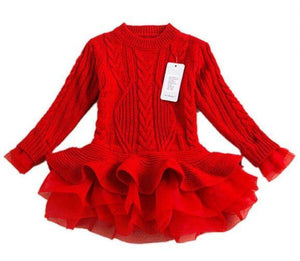 Sweater Ruffle Dress (Red)