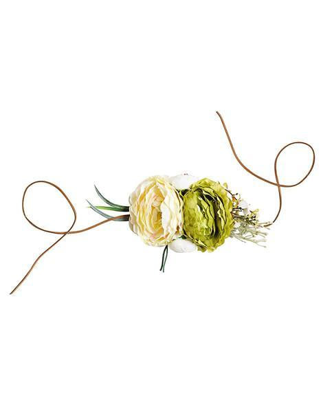 Tie Back Floral Headband/Belt - Ivory & Lime