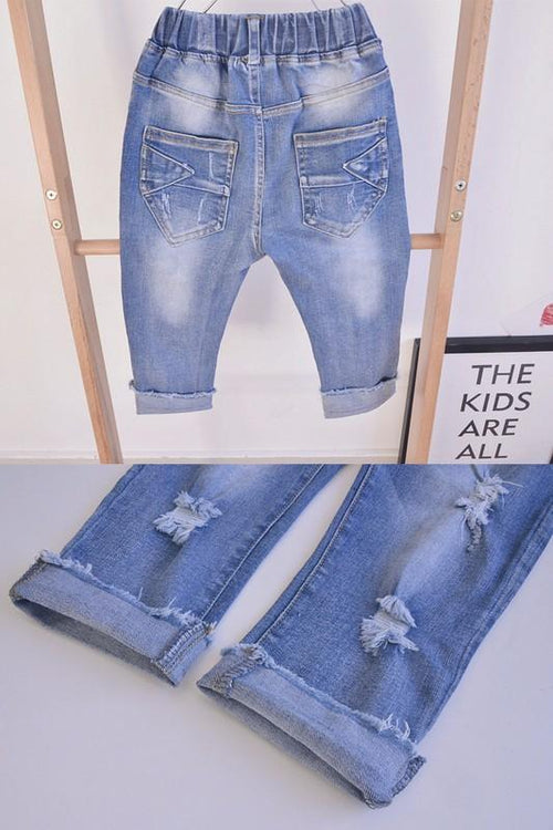 Boys Vintage Denim Jeans - Grey Suede