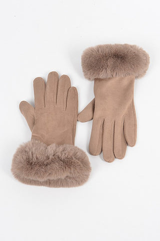 Faux Suede Gloves with Fur (Khaki)