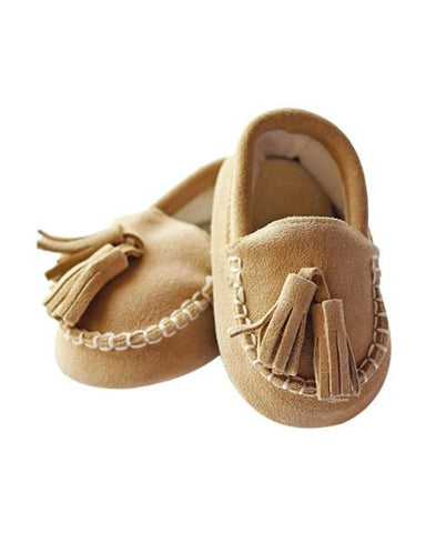 Genuine Suede Loafers - Cream - Grey Suede