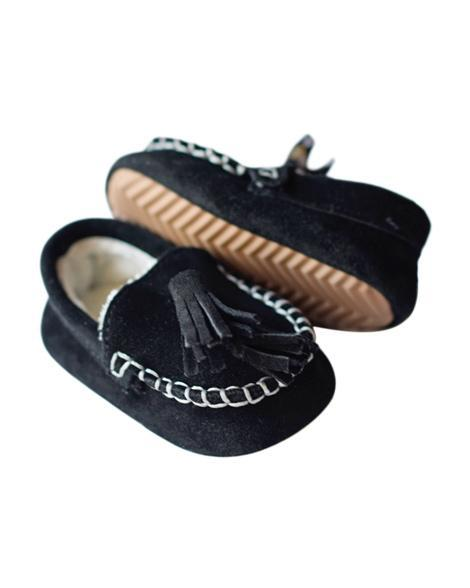 Genuine Suede Loafers - Black - Grey Suede