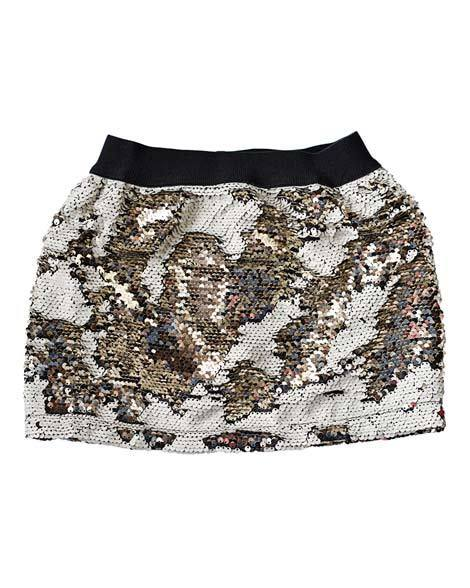 Magic Color Changing Sequin Skirt - Cream/Gold - Grey Suede