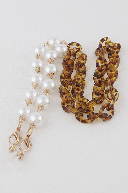 Leopard & Pearl Mask Chain