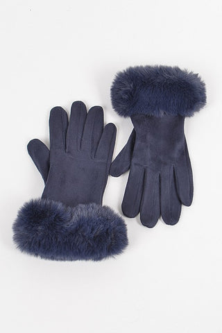 Faux Suede Gloves with Fur (Navy)