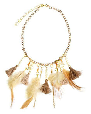 Feather & Tassel Bohemian Necklace - Beige - Grey Suede