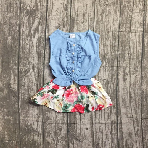 Denim Floral Dress - Grey Suede