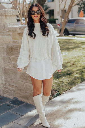 Cream Ripped Cable Knit Sweater