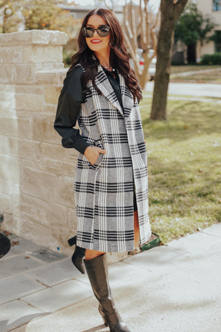 Plaid Long Vest