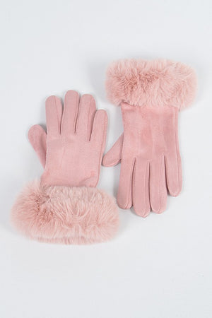 Faux Suede Gloves with Fur (Pink)