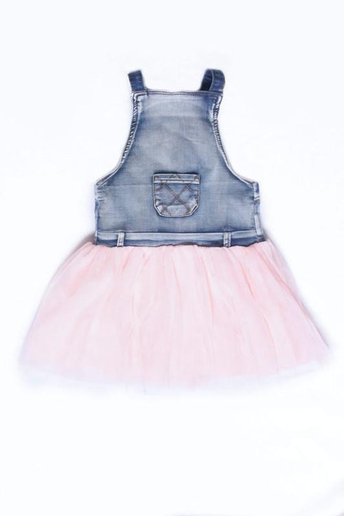 Denim jumper with soft tulle skirt - Grey Suede