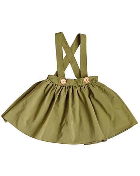 Daphne Pleated Suspender Skirt - Hunter Green - Grey Suede