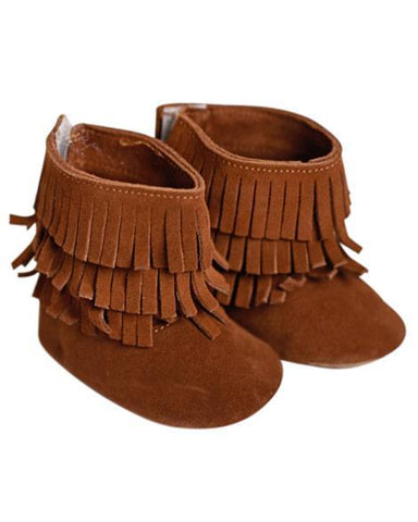 Genuine Suede Fringe Boots - Brown - Grey Suede
