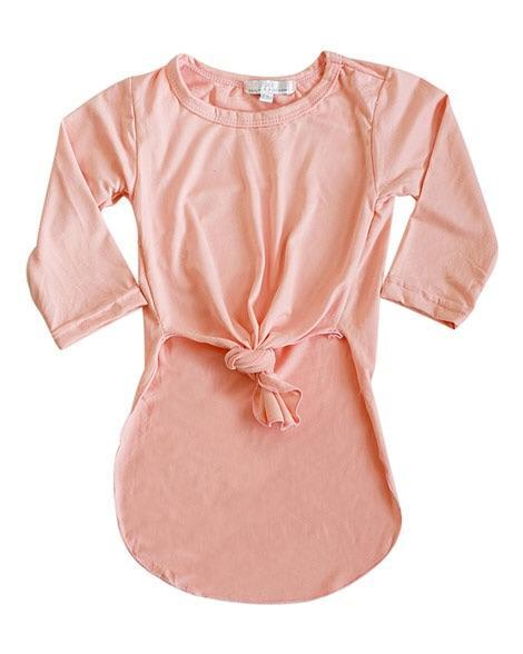 Side Slit Tie Knot Top - Peach