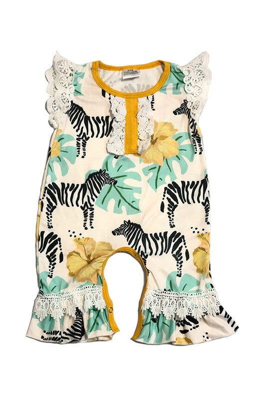 Zebra Flower Fields Romper