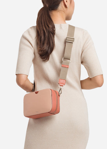 VERA A BLOCK with Canvas Strap in Coral Brick