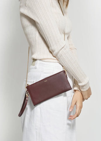 VERA BEST MILLIE WALLET in Burgundy with Chain
