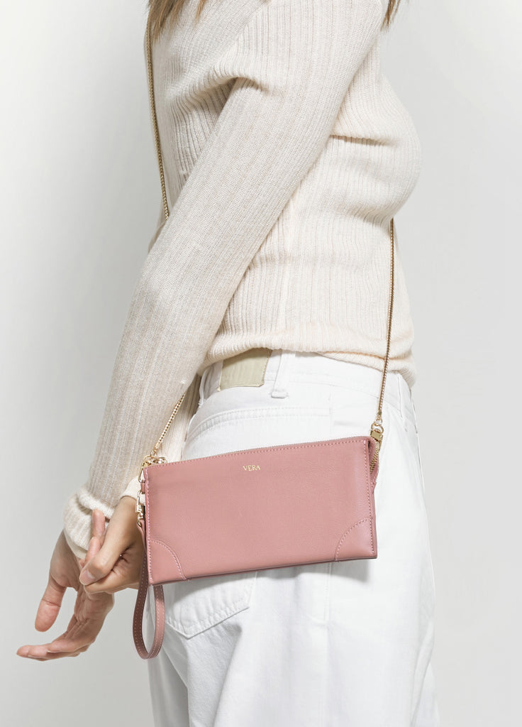 VERA BEST MILLIE WALLET in Pink Frappé with Chain