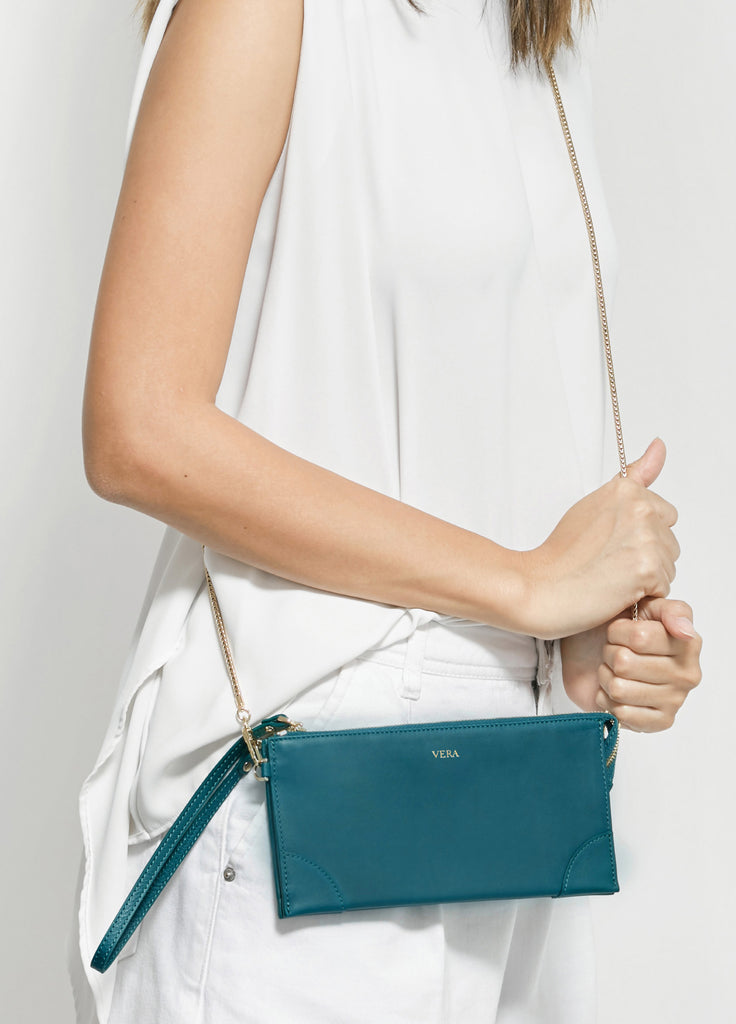VERA BEST MILLIE WALLET in Teal Green with Chain