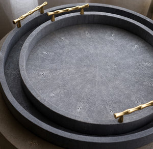 Shagreen & Brass Round Tray Small Large