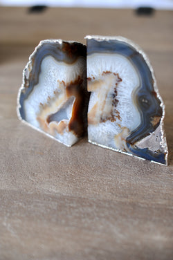 Gold Silver Agate Stone Bookend Accessory