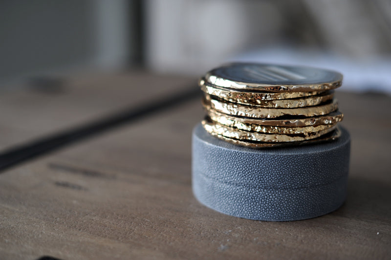 Shagreen & Brass Coaster Set
