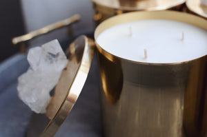 Haute Co. Ambre Lumiere Brass Crystal Soy Scented Candle