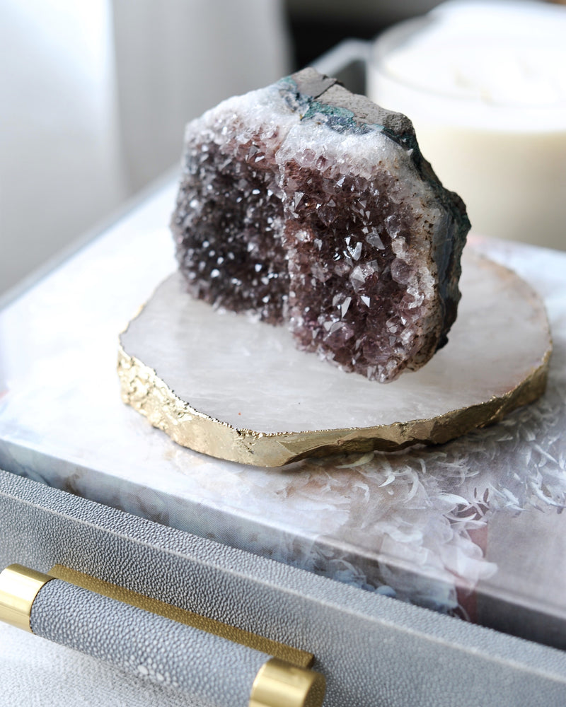 Gold Leaf Agate Amethyst Crystal Geode Stone Bookend Accessory