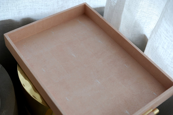 Haute Co. Blush Ivory Shagreen Tray