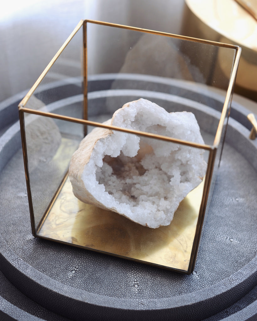 Haute Co. Crystal Geode Cluster Gold Glass Display Box