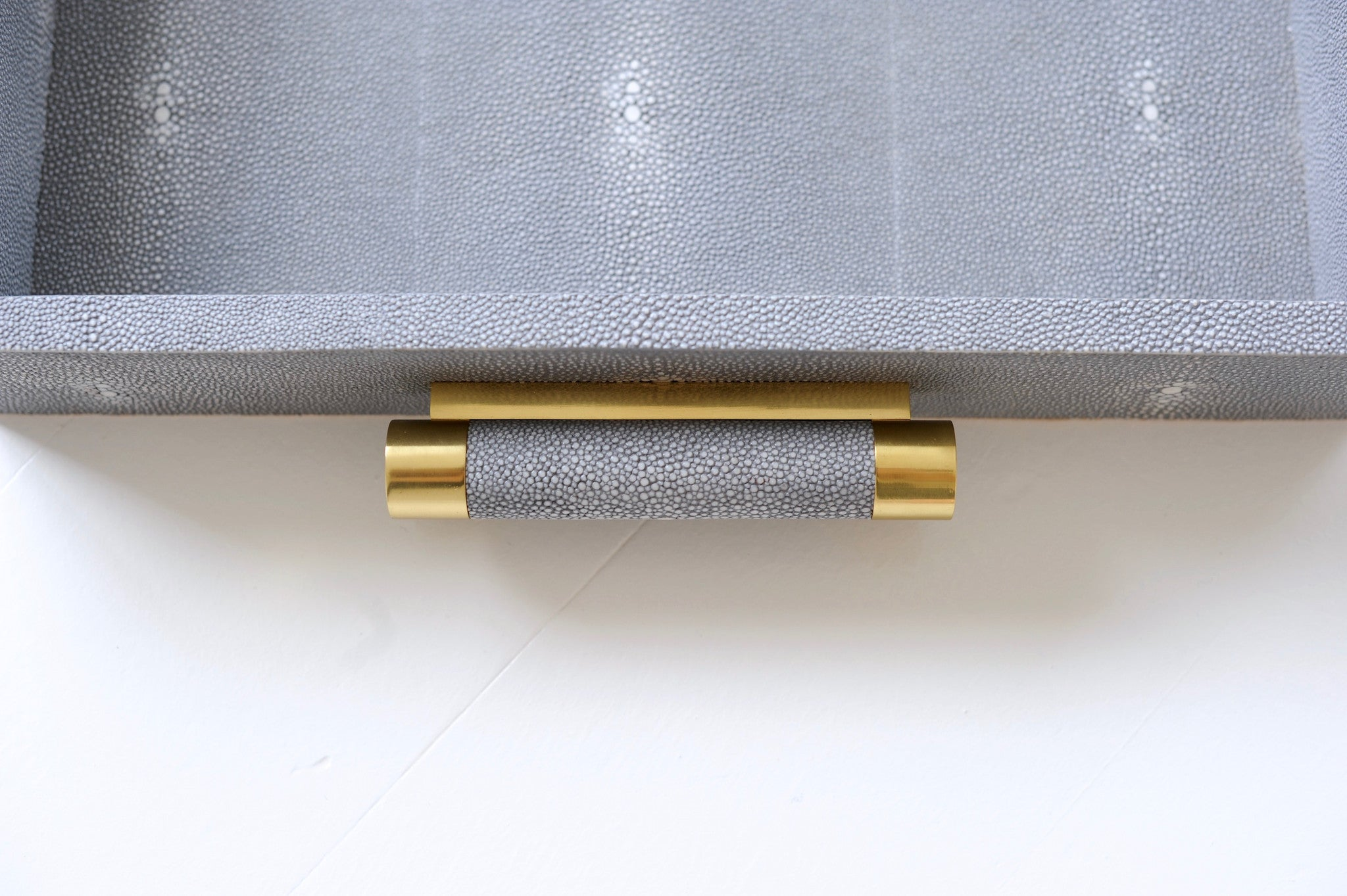 Shagreen & Brass Serving Decorative Tray